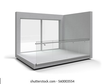 Aluminum frameless glass balustrade isolated. 3d rendering
