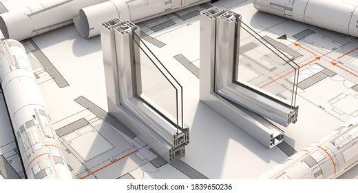 Aluminum frames open and closed on blueprint background. PVC metal silver color windows and doors profile detail cross section.  3D illustration