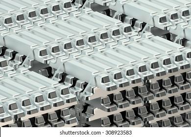 Aluminum ingots  stack