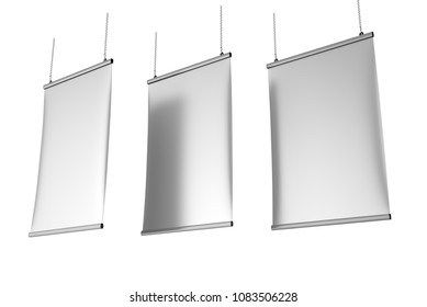 Aluminum snap grip Ceiling Banner poster hanger,Hanging Poster Rails Poster Hanger. 3d render illustration.
