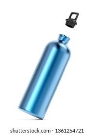 Aluminum sport bottle on white background, 3D illustration