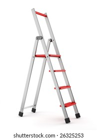 aluminum step-ladder with red steps on white backgroud