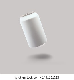 Aluminum white soda can mock-up isolated on soft gray background. 3d rendering