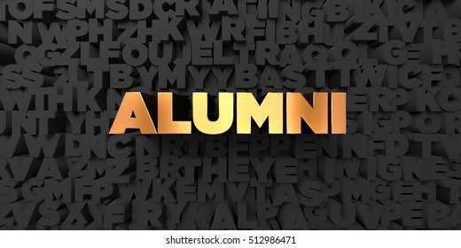 Alumni - Gold text on black background - 3D rendered royalty free stock picture. This image can be used for an online website banner ad or a print postcard.
