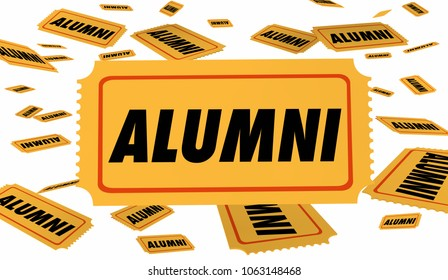 Alumni School Graduate Ticket Special Pass 3d Illustration