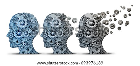 Alzheimer dementia brain disease as a memory loss and mental transforming neurology or mind mental health concept as a head made of gears and cog wheels degrading and aging as a 3D illustration.