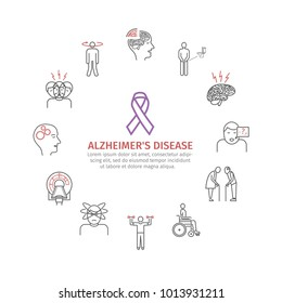 Alzheimer's disease and dementia. Symptoms, Treatment. Line icons set.