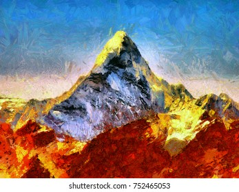 Ama Dablam mount - oil painting