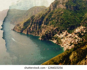 Amalfi Coast Water Color