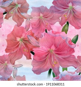 Amaryllis flowers.Seamless patterns. Branch with flowers and buds. Watercolor. Spring Flower.Use printed materials, signboards, posters, postcards, packaging.