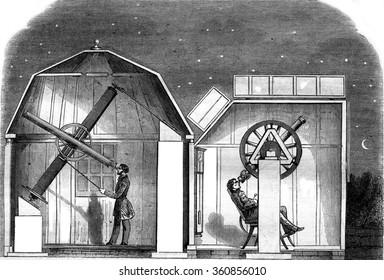 Amateur observatories, Interior views, vintage engraved illustration. Magasin Pittoresque 1857.