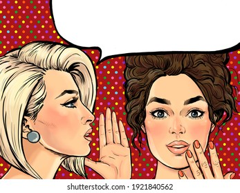 Amazed women gossip with thought bubble. Advertising poster or disco flayer design of female conversation. Two beautiful girls talking about you.