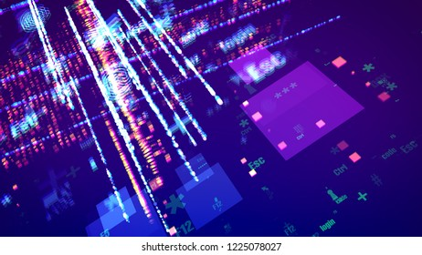 An amazing 3d illustration of cyber symbols such as number, grate, arrow, star, escape, square, flying cheerfully among lines of pink dots in the dark violet background