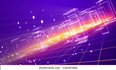 An amazing 3d illustration of a cyberspace urban territory with many dazzling crystalline houses with plazma looking bottom on a grid from squares in the violet background put aslant.