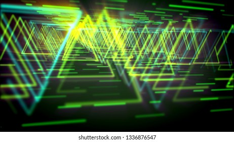 Amazing 3d illustration of glittering yellow triangles making long and straight ways for flying spaceships in the green and black virtual reality. It looks like mysterious time tubes.