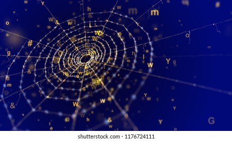 An amazing 3d illustration of a spider net placed aslant in the dark blue background. It looks old and at the same time futuristic because of flying cyberspace symbols and some golden figures.