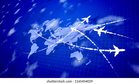 An amazing 3d illustration of white toy airplanes flying along the routes marked with smoky lines on the violet world atlas with a grate placed askew. They look innovative and optimistic.