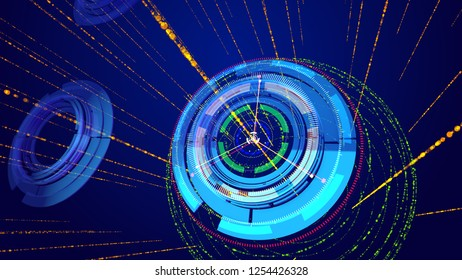 Amazing 3d illustrationof sparkling blue and celeste circles imposed on each other and having a compass dial face and six thin arrows in the dark blue background. It looks futuristic.