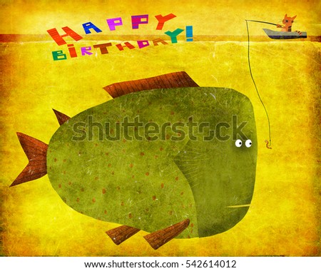 An Amazing Birthday Card A Funny Fishing Cat And Really Huge Fish On The