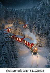 Amazing cute christmas train goes through fantastic winter forest in north pole. Unusual christmas 3d illustration