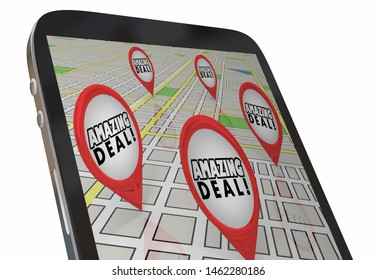 Amazing Deal Phone Map Navigation Find Best Prices 3d Illustration