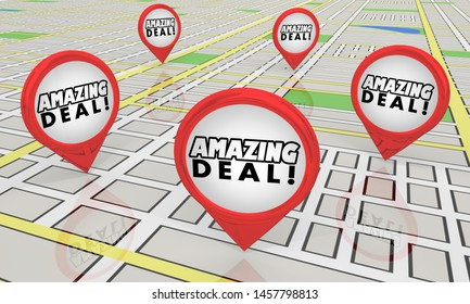 Amazing Deal Sale Special Offer Save Money Map Pin Store Locations 3d Illustration