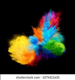 Amazing explosion of bright color powder on black background. Illustration