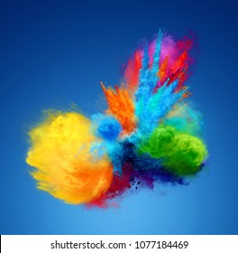 Amazing explosion of bright color powder. Freeze motion of powder exploding. 3D illustration