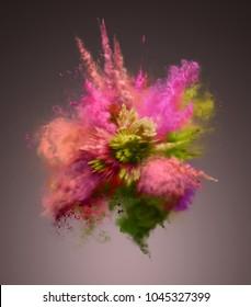Amazing explosion of colorful dust. Freeze motion of color powder exploding. Illustration