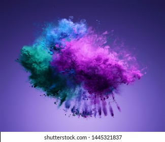 Amazing explosion of purple, blue and green powder. Freeze motion of color dust exploding. 3D illustration