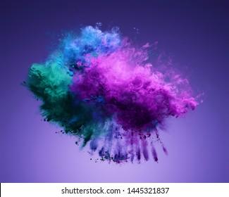 Erstaunliche Explosion von violettem, blauem und grünem Pulver. Erfrieren Sie die Bewegung von Farbstaub explodieren. 3D-Illustration