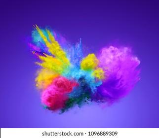 Amazing explosion of vibrant powder. Freeze motion of powder exploding. 3D illustration