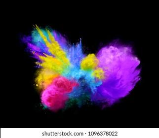 Amazing explosion of vibrant powder on black background. Freeze motion of powder exploding. 3D illustration