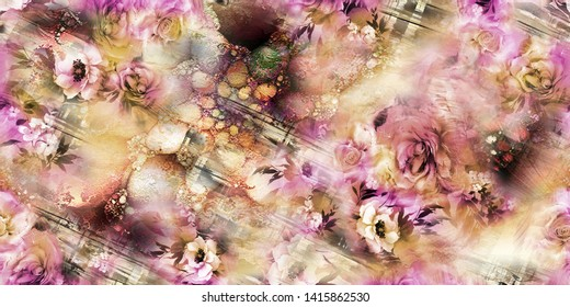The Amazing fabric Abstract Background, Halftone Flowers Bouquet, Floral illustration, Botanical composition abstract background for greeting card and textile and digital print - Illustration