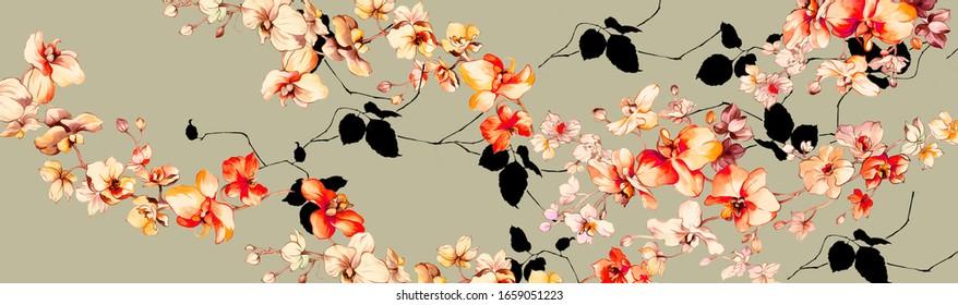Abstrakter Hintergrund des faszinierenden Gewebes, Blumenstrauß der Halftone, Blumengrafik, Leaf und Knospen, abstrakter botanischer Hintergrund für Grußkartendruck und Stoffdruck - Illustration