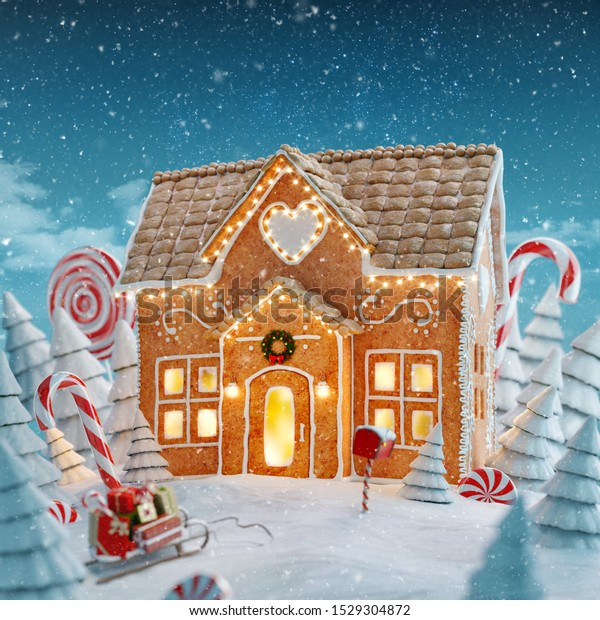 Amazing fairy Christmas gingerbread house decorated of Christmas lights in a magical forest with candy canes. Unusual Christmas 3d illustration postcard.