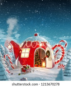 Amazing fairy house decorated at christmas in shape of teapot with christmas interior inside in magical forest with spurces and candy canes. Unusual christmas 3d illustration postcard.