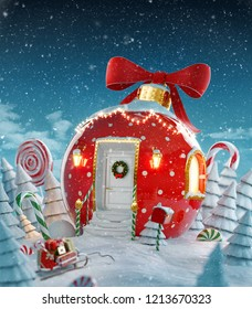 Amazing fairy house decorated at christmas in shape of christmas bauble with red ribbon and christmas lights in magical forest with candy canes. Unusual christmas 3d illustration postcard.