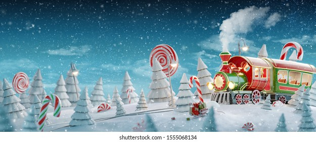 Amazing fairy Santa's Christmas train in a magical forest with candy canes. Unusual 3d illustration postcard.