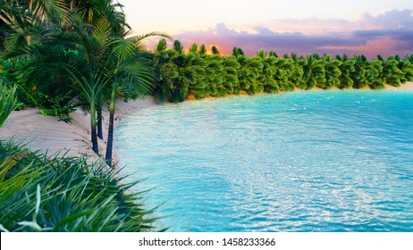 Amazing fantastic oasis in the desert. Clear day. Mountains, sand dunes, palm trees and a sultry sky with clouds. 3D Rendering