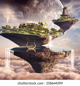 Amazing fantasy scenery with floating islands, lake, windmill and boat