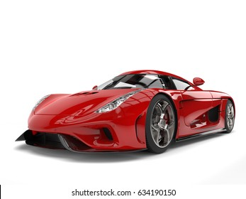 Amazing fiery red super car - 3D Illustration
