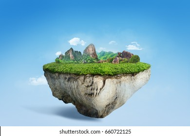 Amazing floating island with natural mountain landscape, 3D float rock and grass with beautiful countryside scenery