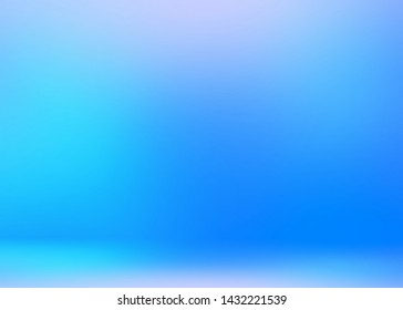 Amazing icy room 3d background. Bright azure blue empty wall and floor illustration. Smooth gleaming texture. Wonderful winter decoration.
