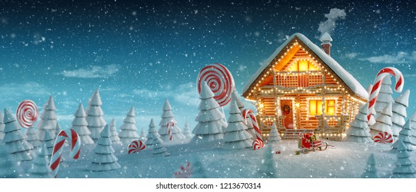 Lights Of Christmas.Houses Christmas Lights Stock Illustrations Images