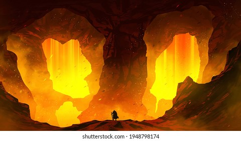 Amazing mountain lava cave scenery with a man standing beside the mountain lava cave. Fantasy landscape art. Digital art 3d illustration. 3d rendering.