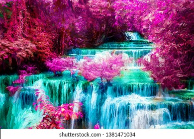 Amazing in nature, beautiful waterfall and colorful forest in fall season in fantasy forest. Abstract digital oil painting.