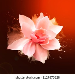 Amazing pink rose, in bright splashes of paint. Like a print for clothes. For greeting cards