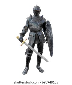 Amazing realistic 3D render of a medieval knight in full battle armour with a broadsword and a shield.