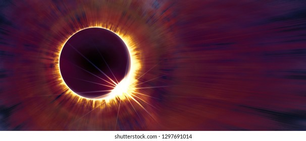 Amazing scientific background - total solar eclipse in dark red glowing sky, mysterious natural phenomenon when Moon passes between planet Earth and Sun. 3D illustration.